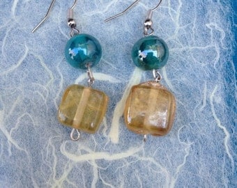 Silver Yellow and Teal Drop Earrings