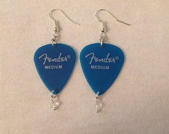 Blue Fender Guitar Pick Earrings