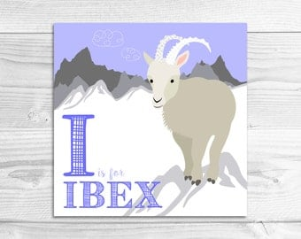 Instant Download: I is for Ibex Wall Art Print // Baby Art, Nursery Art, Alphabet Art