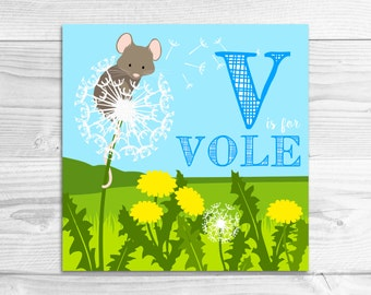 Instant Download: V is for Vole Wall Art Print // Baby Art, Nursery Art, Alphabet Art