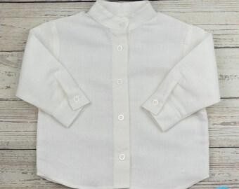longsleeve linen shirt baby shirt toddler shirt baby boy shirt stand-up collar christening outfit boy