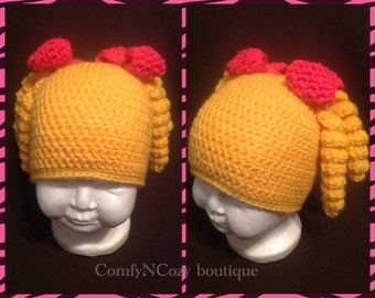 Crochet Curly corkscrew ponytail hat with bows