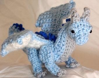 """Crochet Ice Dragon Blue Plush """"Siyagon"""""""
