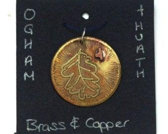Celtic Ogham Pendant - Huath (Hawthorn). Druid pendant. Hawthorn leaf pendant. Celtic script. Nature necklace