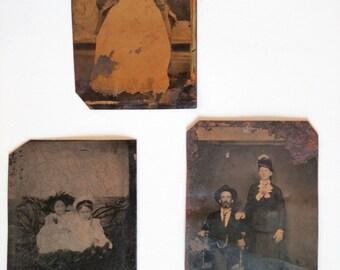 3 Antique Tin Types - Baby, Children & Couple