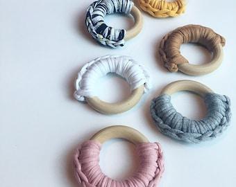 Fabric Yarn Crocheted Ring Teether -- Eco-friendly wooden Ring -- crocheted wood -- Baby Teether