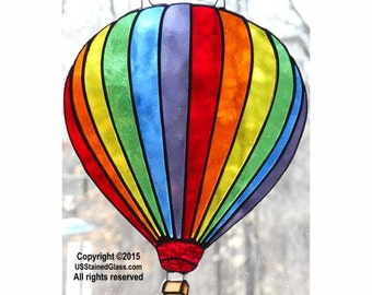 Stained Glass Suncatcher Hot Air Balloon, Gift