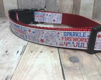 "The Firework | Designer 1"" Width Dog Collar | CupcakePups Collars | Sparkle more than Fireworks - Medium/Large Dog Collar"
