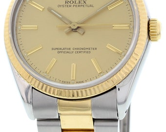 Men's Rolex Oyster Perpetual Stainless Steel and 18K Yellow Gold Watch Ref. 1005
