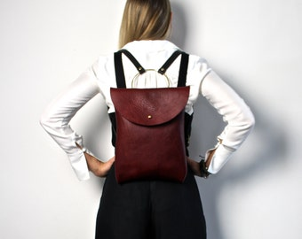 Leather Backpack Women Purse the O-Series