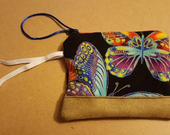 Butterflies coin purse with complimentary lining and red zipper