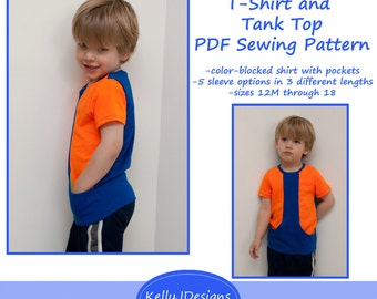 Get Set T-Shirt and Tank Top Pattern children's color-blocked shirt sewing pattern