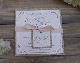 Glitter Wedding Invitation, Pink & Champagne Wedding Invitation