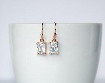 Delicate Rose Gold Crystal Earrings. Bridesmaid gift, wedding, stocking stuffer, gift for her, cubic zirconia earrings, drop earrings,