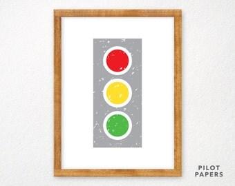 stoplight traffic light poster for baby, nursery, toddler, kids room 18x24