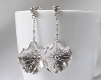 silver lily pad earrings flower earrings post earring lotus jewelry