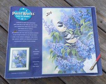 Dimensions Paintworks Chickadees and Lilacs Paint by Number Kit