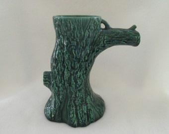 Vintage Treasure Craft Green Textured Tree Flower Vase California Pottery