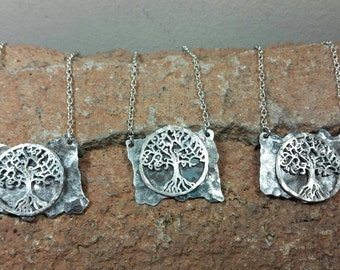 Hammered Tree of Life Steel Pendant Necklace