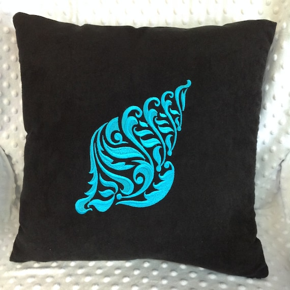 Black Turquoise Embroidered Throw Pillow Cover Black Teal