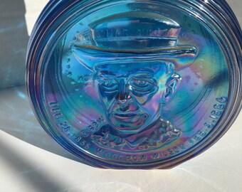 Vintage Woodrow Wilson Commemorative Blue Iridescent Bottle with Top