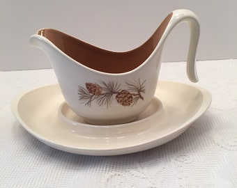 Taylor Smith & Taylor ~ Pinecone Pattern ~ Gravy Boat with Under plate ~ 1950's Vintage