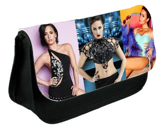 Demi Lovato Theme Pencil Case Or Make-Up Bag Black