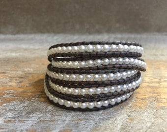 Stacy Pearl Beaded Wrap Bracelet