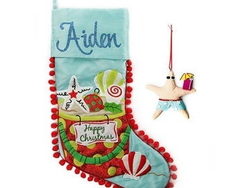 Personalised Beach Christmas Stocking and Decoration Pack