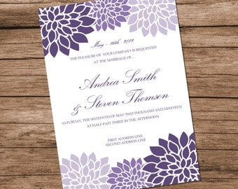 Printable Wedding Invitation Template, Lavender Chrysanthemum Design, Purple Flowers, INSTANT DOWNLOAD, Editable Text & Colors, 5x7 inches