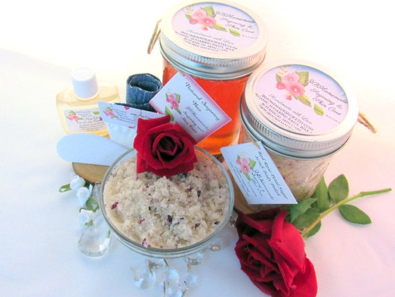 Sugaring Wax & Red Rose Petal Sugar Scrub Bundle