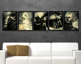 Batman Poster Set, Dark knight, Super hero, Watercolor art, Kid's room, Batman Movie inspired