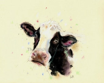 Dairy Cow Black White - Bertha - artwork - Print - Original painting  loose contemporary Pastel drawing whimsical art nursery farm animal