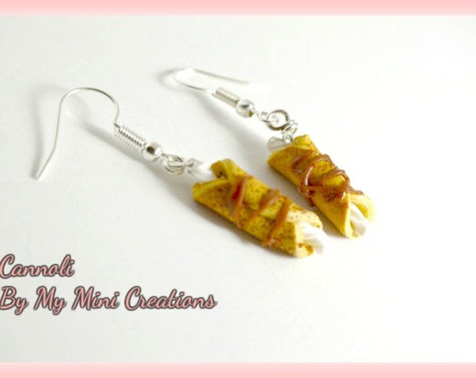 Cannoli Earrings, Miniature Food, Miniature Food Jewelry, Food Jewelry
