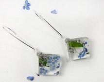 long dangle earrings sky blue flower cluster square terrarium earrings statement resin jewelry blue green earrings mom gift bijoux carré сп2