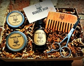 Beard Grooming Kit - Oil, Wax, Balm, Wood comb, Scissors - All Included!!! - Hand Made in the U.S.A.- FREE Shipping in the U.S.A