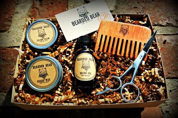beard grooming kit oil wax balm wood comb scissors all. Black Bedroom Furniture Sets. Home Design Ideas