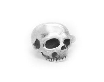 Tattoo Inspired Sterling Silver Adjustable Skull Ring