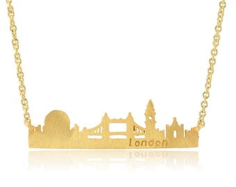 18K Yellow Gold Plated London Skyline Necklace