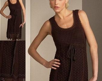 Dames élégante robe en brun chocolat / crochet / sur commande