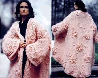 Belles dames long manteau tricoté rose / custom