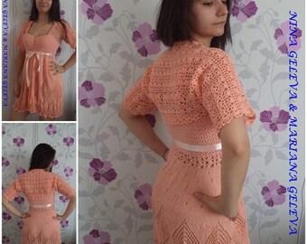 Belles dames robe avec boléro,couleur - pêche / main / crochet