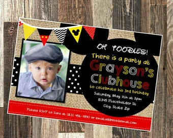 Mickey Mouse Invite - Mickey Mouse Party - DIY Printable File