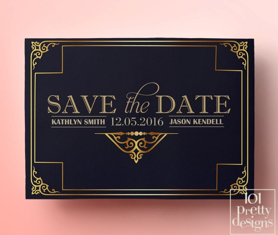 Navy Art Deco Save The Date Template Printable Save The Date Card