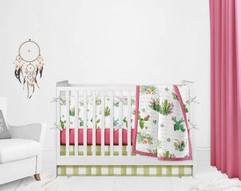 Crib Bedding Set - Cactus - Baby Bedding - Girl Woodland Bedding - Baby Girl Bedding - Crib Bedding - Nursery Bedding - Girl Crib Bedding