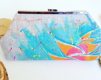 Modern clutch, balisiers, tropical flower, cover has hand, hand painted clutch
