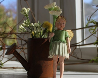 Fairy~ Daisy Fairy with Rusted Watering Can by Olive ~ Fairy Garden, Fairy, Fae, Faery