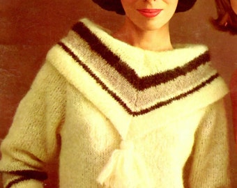Women's Retro 60s Knitted Pullover Pattern with Tassel