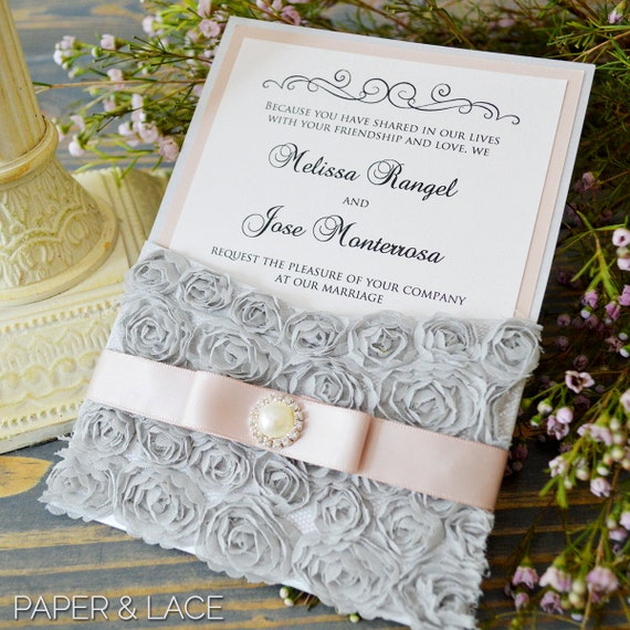 MELISSA - Gray Rosette Pocket Invitation - Silver & Blush Lace Invitation with Antique Pink Ribbon and Pearl Button Embellishment