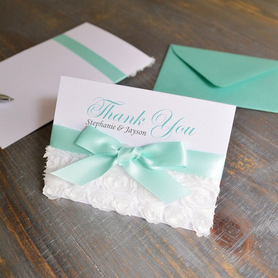 Rosette Thank You Cards - White Rosette Lace - Custom Thank You Notes - Blank Inside - Wedding - Bridal Shower - Quince - Sweet 16